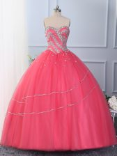 Delicate Hot Pink Sweetheart Lace Up Beading Quinceanera Dresses Sleeveless
