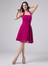 Flirting Halter Top Sleeveless Zipper Prom Gown Fuchsia Chiffon