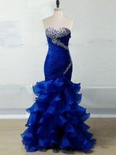 Most Popular Royal Blue Organza Zipper Sweetheart Sleeveless Floor Length Prom Gown Beading and Ruffles and Ruching