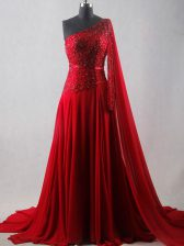 New Arrival Wine Red One Shoulder Zipper Beading and Belt Homecoming Dress Court Train Sleeveless