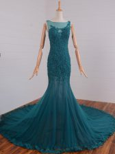 Teal Sleeveless Beading and Lace and Appliques Zipper Prom Evening Gown