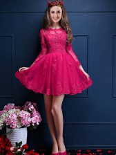 Hot Pink Quinceanera Court Dresses Prom and Party with Beading and Lace and Appliques Scalloped 3 4 Length Sleeve Lace Up