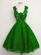 Perfect Green A-line Lace Straps Sleeveless Lace Knee Length Lace Up Quinceanera Court Dresses