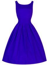 Taffeta Scoop Sleeveless Lace Up Ruching Court Dresses for Sweet 16 in Blue