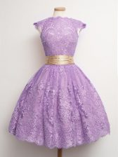 Lovely Knee Length Ball Gowns Cap Sleeves Lavender Dama Dress for Quinceanera Lace Up