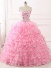 Enchanting Organza Sleeveless Quinceanera Dresses Sweep Train and Beading and Ruffled Layers