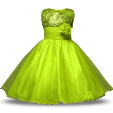 Admirable Organza and Sequined Sleeveless Knee Length Flower Girl Dress and Bowknot and Belt and Hand Made Flower