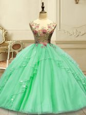Green Lace Up Sweet 16 Dress Appliques Sleeveless Floor Length