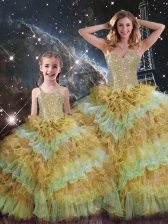 Sleeveless Floor Length Beading and Ruffled Layers and Sequins Lace Up Quinceanera Dresses with Multi-color