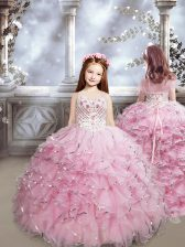 Lace Up Little Girl Pageant Dress Baby Pink for Quinceanera and Wedding Party with Beading and Ruffles Brush Train