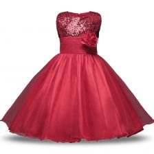 Stylish Wine Red Sleeveless Organza and Sequined Zipper Flower Girl Dress for Military Ball and Sweet 16 and Quinceanera