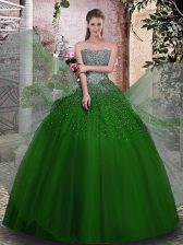 Fabulous Green Tulle Lace Up Strapless Sleeveless Floor Length 15 Quinceanera Dress Beading