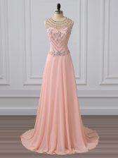 Latest Empire Sleeveless Peach Evening Dress Brush Train Side Zipper