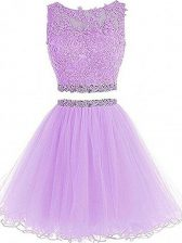 Hot Sale Mini Length Lavender Prom Party Dress Tulle Sleeveless Beading and Lace and Appliques