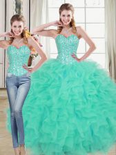 New Arrival Turquoise Sweetheart Neckline Beading and Ruffled Layers Sweet 16 Quinceanera Dress Sleeveless Lace Up