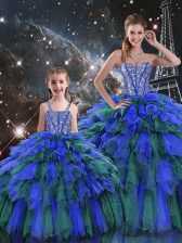 Suitable Multi-color Sleeveless Organza Lace Up Sweet 16 Dress for Military Ball and Sweet 16 and Quinceanera