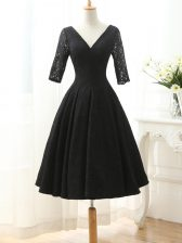 Dynamic Black Lace Lace Up Homecoming Dress Half Sleeves Knee Length Lace and Appliques