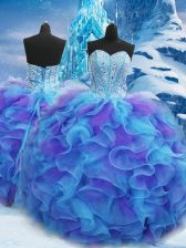 Fitting Blue Ball Gowns Beading and Ruffles Vestidos de Quinceanera Lace Up Organza Sleeveless Floor Length
