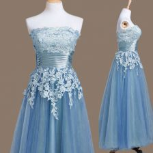 Strapless Sleeveless Lace Up Dama Dress for Quinceanera Blue Tulle