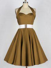 Modern Brown Taffeta Lace Up Halter Top Sleeveless Knee Length Quinceanera Dama Dress Belt