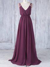 Burgundy V-neck Neckline Appliques Damas Dress Sleeveless Backless