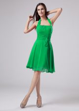 Noble Green Short Sleeves Ruching Knee Length Prom Dress