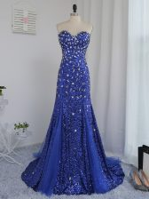 Royal Blue Sweetheart Zipper Beading and Sequins Dress for Prom Brush Train Sleeveless