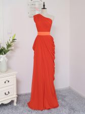 Amazing Coral Red One Shoulder Zipper Pick Ups Quinceanera Dama Dress Sleeveless
