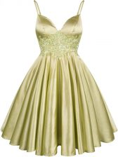 Luxury Olive Green Spaghetti Straps Lace Up Lace Quinceanera Dama Dress Sleeveless