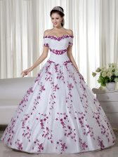 Off The Shoulder Short Sleeves Organza Quinceanera Dress Embroidery Lace Up