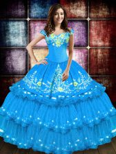 Modest Baby Blue Ball Gowns Taffeta Off The Shoulder Sleeveless Embroidery and Ruffled Layers Floor Length Lace Up 15 Quinceanera Dress