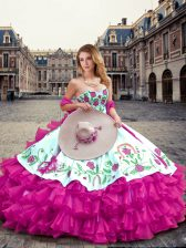 Floor Length Lace Up Quinceanera Dress Fuchsia for Military Ball and Sweet 16 and Quinceanera with Embroidery and Ruffled Layers