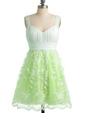 Fabulous Yellow Green Lace Lace Up Straps Sleeveless Knee Length Court Dresses for Sweet 16 Lace