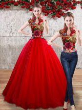 Beauteous Organza High-neck Sleeveless Lace Up Appliques Quinceanera Gowns in Red