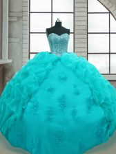 Pretty Sweetheart Sleeveless Lace Up Quinceanera Gowns Aqua Blue Organza