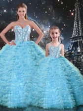 Floor Length Lace Up 15th Birthday Dress Light Blue for Military Ball and Sweet 16 and Quinceanera with Beading and Ruffles