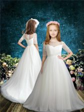 Captivating Beading Flower Girl Dresses for Less White Zipper Half Sleeves Brush Train