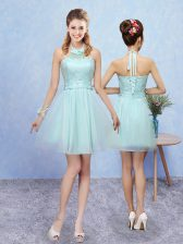 Sophisticated Mini Length A-line Sleeveless Aqua Blue Quinceanera Dama Dress Lace Up