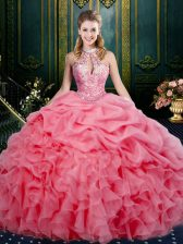 Enchanting Ball Gowns 15th Birthday Dress Watermelon Red Halter Top Organza Sleeveless Floor Length Lace Up