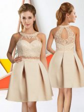 Amazing Champagne Sleeveless Knee Length Lace Zipper Quinceanera Dama Dress