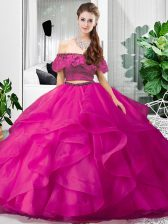 Designer Hot Pink Tulle Lace Up Sweet 16 Quinceanera Dress Sleeveless Floor Length Lace and Ruffles