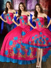 Comfortable Hot Pink Lace Up Strapless Embroidery Quinceanera Gown Taffeta Sleeveless