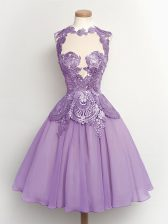 Lavender Lace Up High-neck Lace Dama Dress for Quinceanera Chiffon Sleeveless