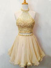 Elegant Organza Halter Top Sleeveless Lace Up Beading Quinceanera Dama Dress in Champagne
