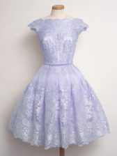 Lavender Cap Sleeves Knee Length Lace Lace Up Quinceanera Court of Honor Dress