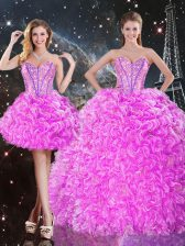Extravagant Fuchsia Three Pieces Organza Sweetheart Sleeveless Beading and Ruffles Floor Length Lace Up Sweet 16 Dress