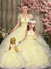 Sleeveless Lace Up Floor Length Beading and Ruffles 15 Quinceanera Dress