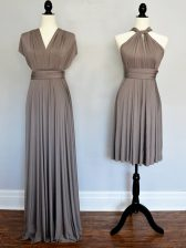Sophisticated Halter Top Sleeveless Dama Dress Floor Length Ruching Grey Chiffon