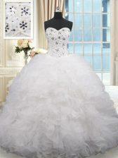 White Sweet 16 Dresses Organza Brush Train Sleeveless Beading and Ruffles