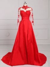 Edgy Red Long Sleeves Satin Brush Train Backless Prom Dresses for Prom and Party and Military Ball